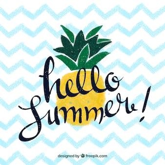 Ciao estate sfondo con ananas e lettering