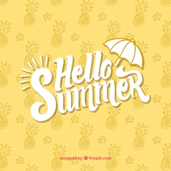 Hello summer background with pineapples pattern