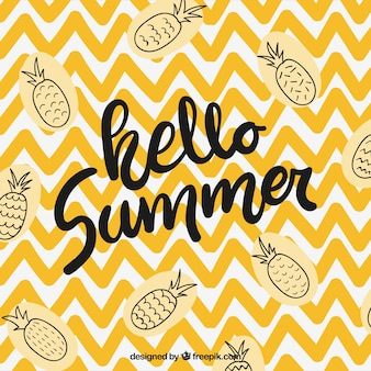 Hello summer background with pineapples