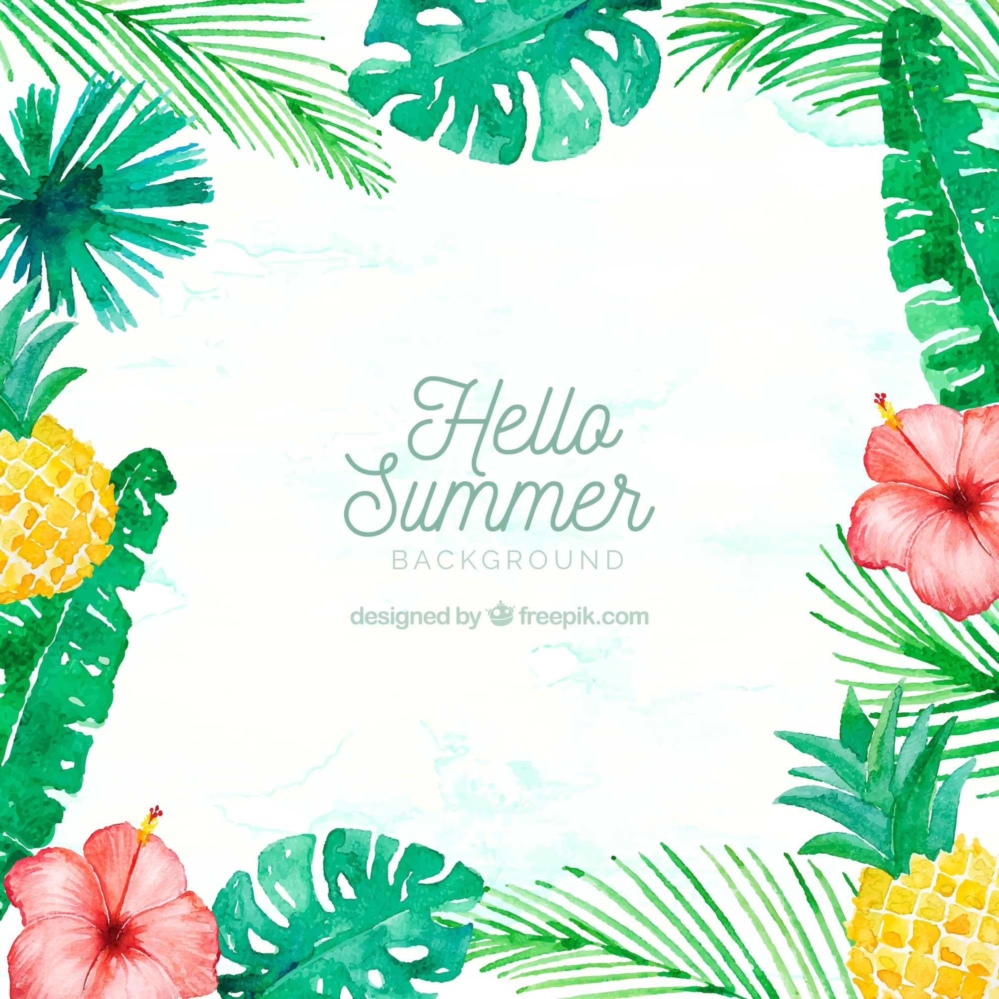 Hello summer background with plants and fruits in watercolor style