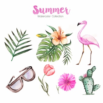 Hello summer background with plants and flamingo in watercolor style