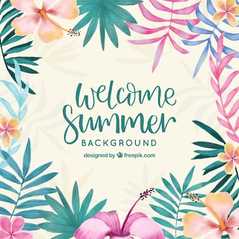 Hello summer background with plants in watercolor style