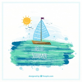 Hello summer background with sailboat in watercolor style