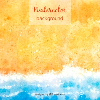 Hello summer background with sand and water in watercolor style