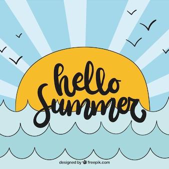 Ciao estate sfondo con mare e sole