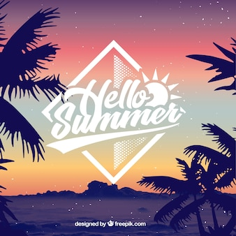 Hello summer background with silhouette of palm trees