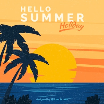 Hello summer background with sunset