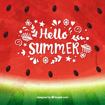 Hello summer background with tasty watermelon