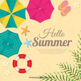 Hello summer background with top view