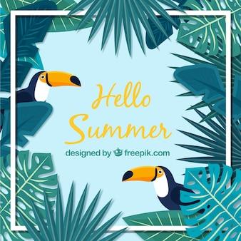 Привет, лето с туканами и растениями