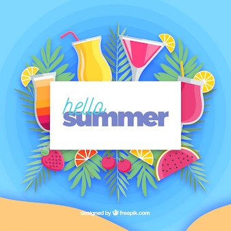Hello summer background with tropical cocktails