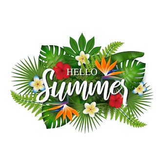 Hello summer background with tropical flowers and leaves