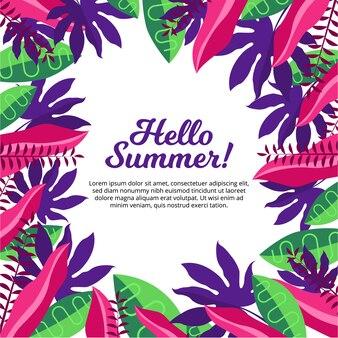 안녕하세요 열 대 잎 디자인 여름 배경