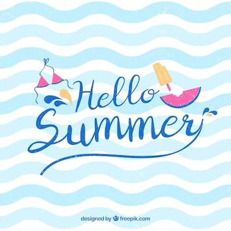 Привет, лето фон с водой шаблон
