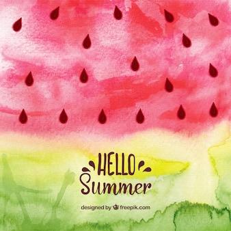 Привет, лето фон с арбузом в акварельном стиле