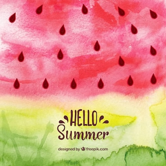 Hello summer background with watermelon in watercolor style