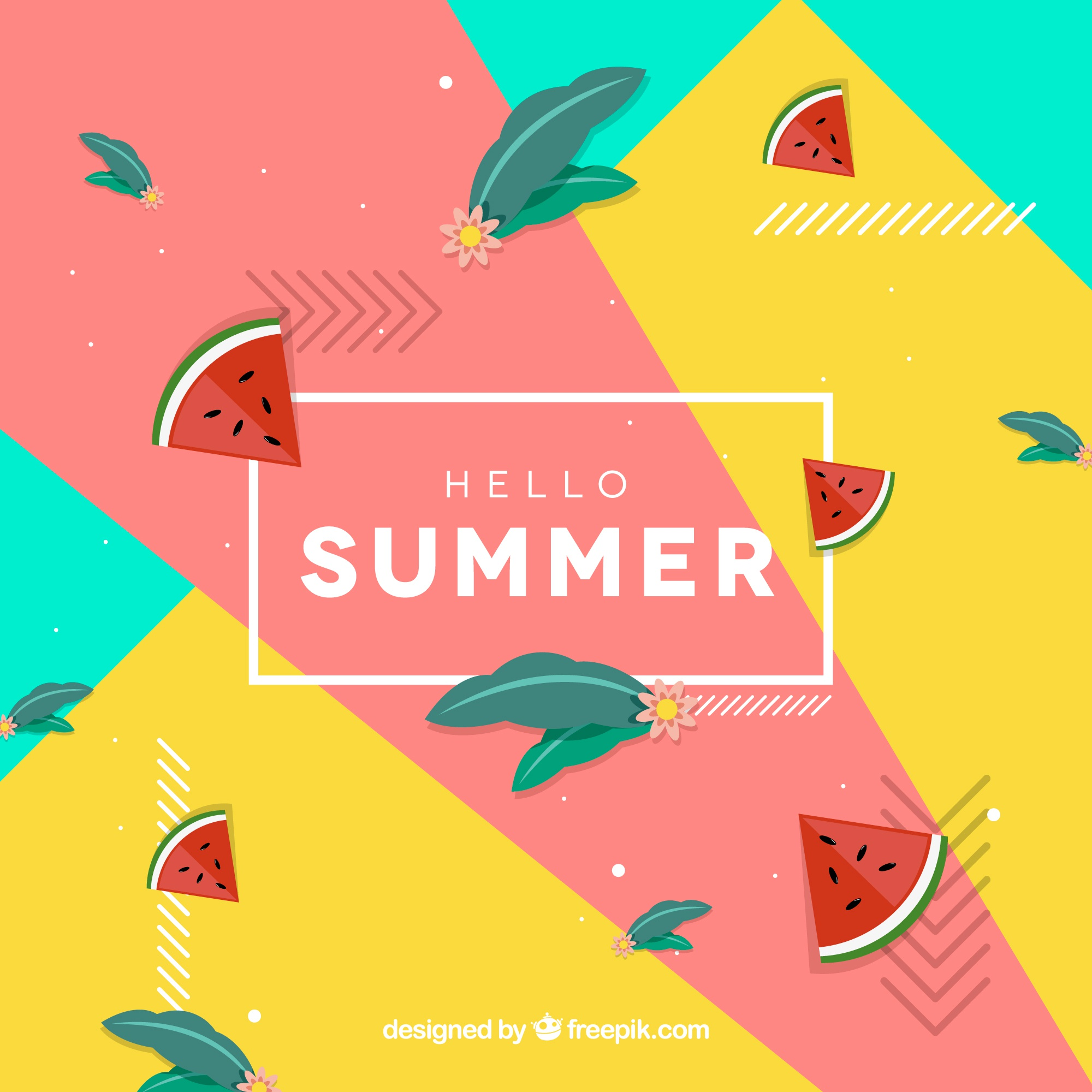Hello summer background with watermelons
