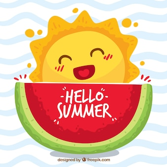 Hello summer background with with cute caricature of the sun