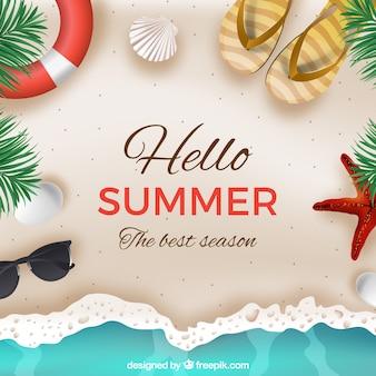 Hello summer background с пляжем в реалистичном стиле