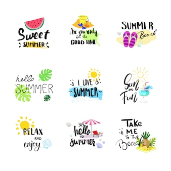 Hello summer badge set isolated typographic design label, season holidays lettering for logo,templates, invitation, greeting card, prints and posters.