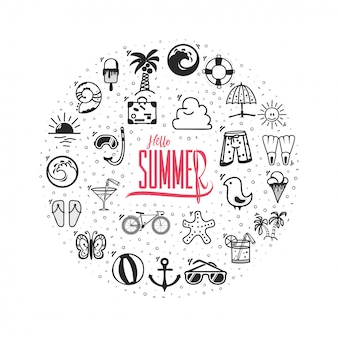 Hello summer banner icons