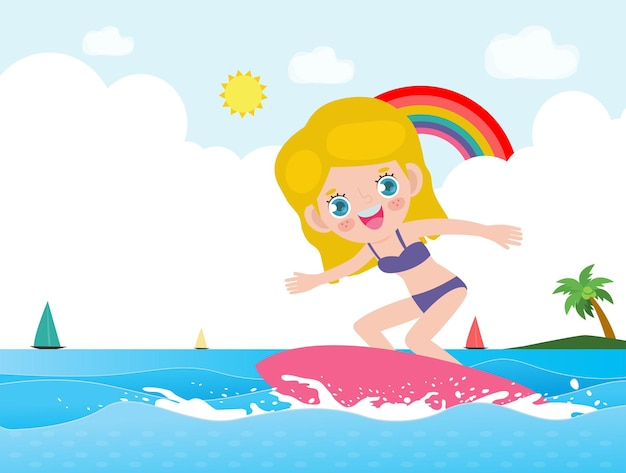 Hello summer banner template cute surfer kid character with surfboard and riding on ocean wave