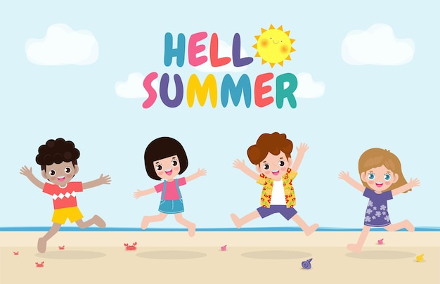 Привет летний баннер шаблон группа детей прыгает на пляже летнее время отдыха