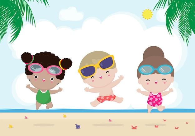 Привет, лето, баннер, шаблон, группа детей, прыгающих на пляже, летнее время