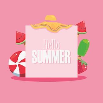 Hello summer banner trendy style