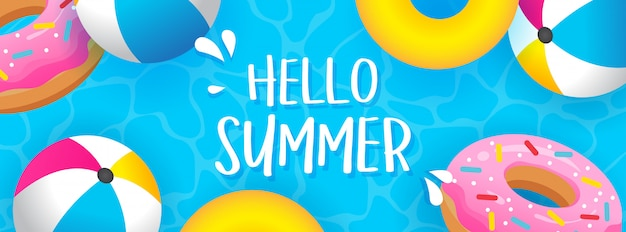 Hello summer banner vector illustration Premium Vector