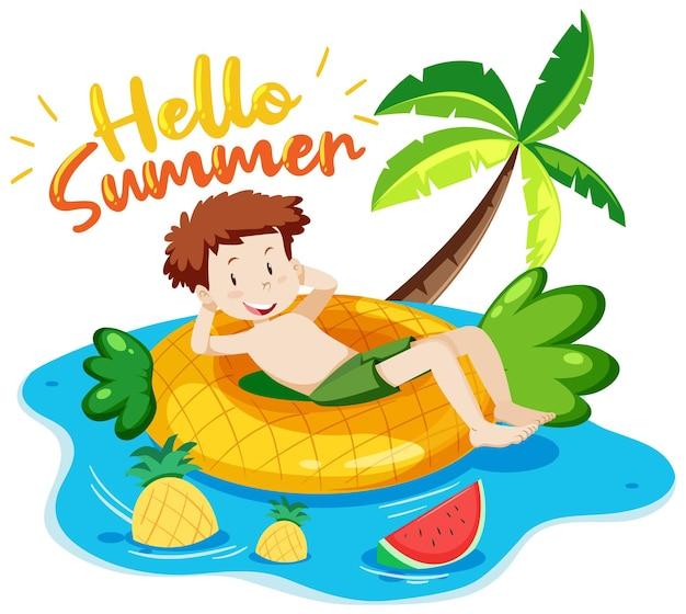 Здравствуйте, лето баннер со счастливым человеком, лежащим на изолированном плавательном кольце