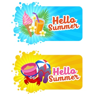 Hello summer banner with beach fun theme
