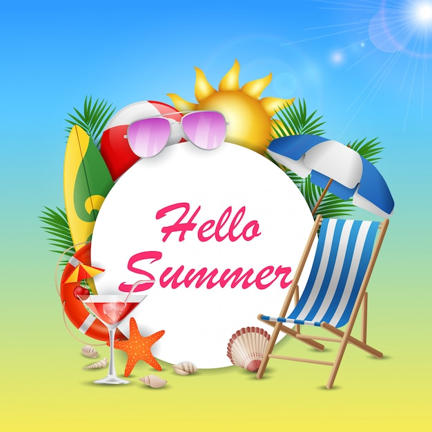 Hello summer banner with beauty blue sky.