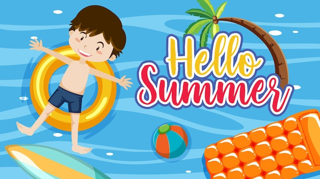 Hello summer banner with a boy laying on swimming ring in the pool