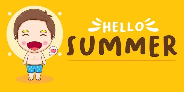 Привет, лето баннер с мальчиком