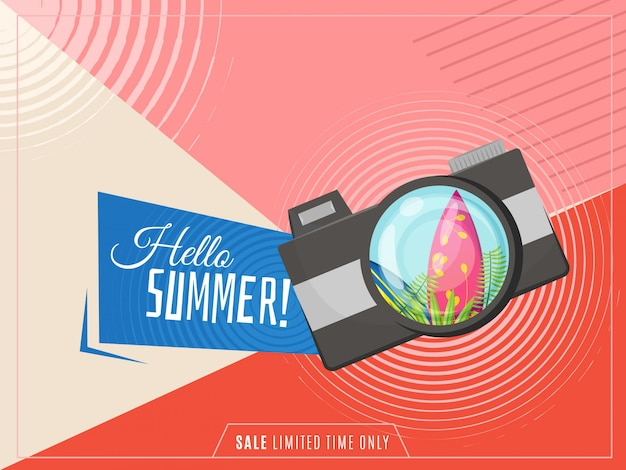 Hello summer banner with camera