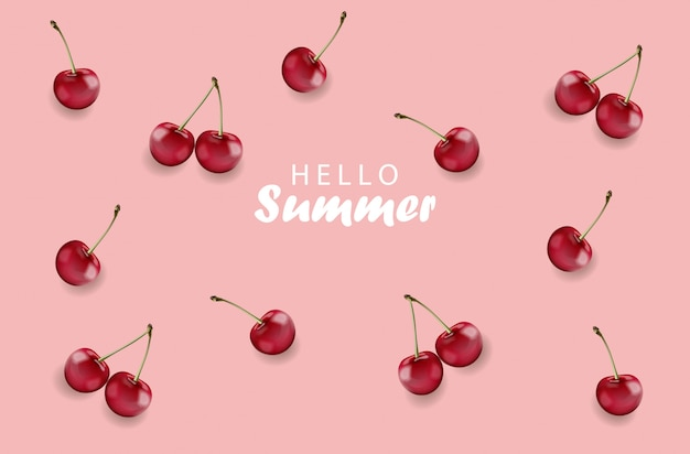 Hello summer banner with cherry fruits and rose background