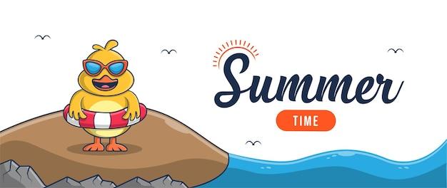 Привет лето баннер с дизайном персонажей курицы