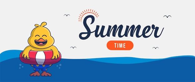 Привет летний баннер с дизайном персонажей иллюстрации курицы