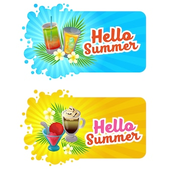 Hello summer banner with cool drink theme