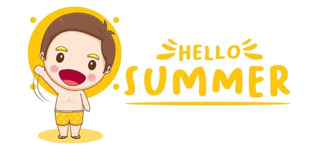 Привет, лето, баннер с милым мальчиком
