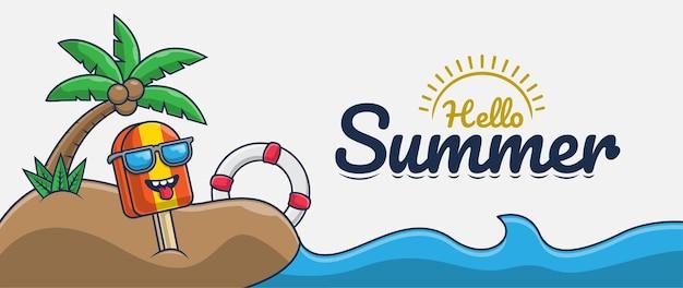 Привет лето баннер с мультипликационным персонажем мороженого на пляже