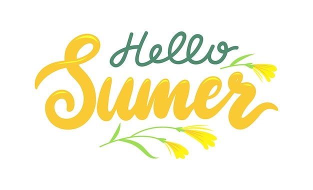 Hello summer banner with lettering and flowers on white background. summertime season greeting calligraphy design with natural blossom elements, typography or print. cartoon vector illustration