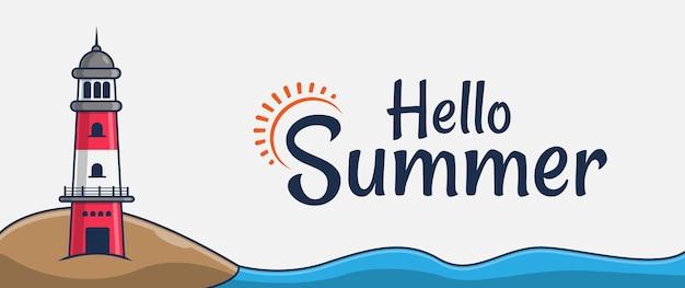 Hello summer banner with lighthouse cartoon illustration on the beach