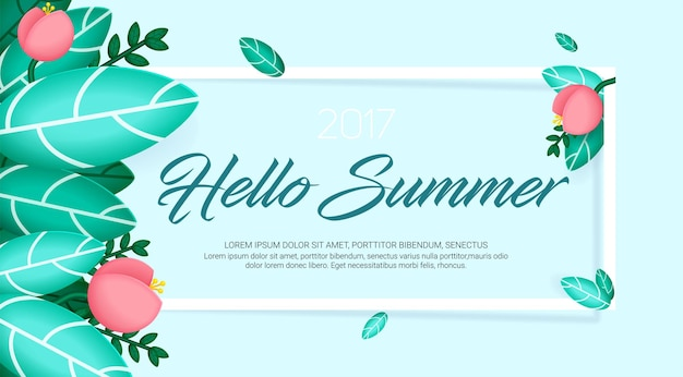Hello summer banner with natural exotic leaves and flowers
