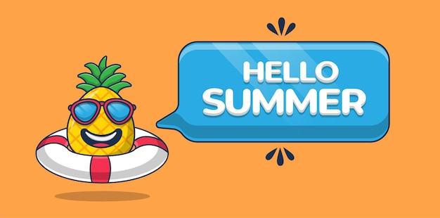 Привет, летний баннер с мультипликационным персонажем ананаса и плавательной шиной