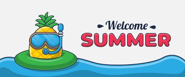 해변에서 수영하는 파인애플 만화 캐릭터와 함께 안녕하세요 여름 배너
