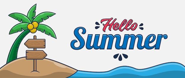 Привет лето баннер с плавательным крабом мультипликационный персонаж