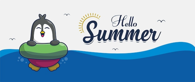 Hello summer banner with swimming penguin illustration character design