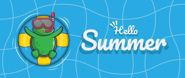 Hello summer banner with swimming turtle illustration character design